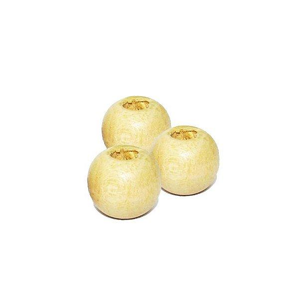 04-0000 - Pacote com 1000 Bolas em Madeira Marfim com Passante 12mmx13mm