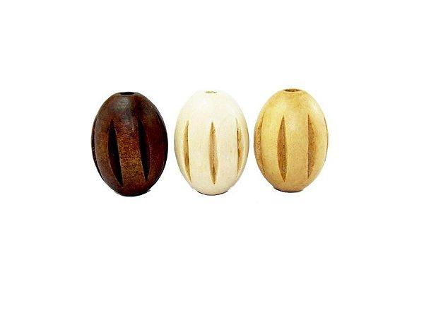 04-0032 -Pacote com 1kg Madeira Oval Passante com Riscos 21mmx29mm