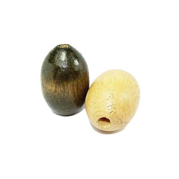04-0033 - Pacote com 1kg Madeira Oval com Passante 19mmx29mm