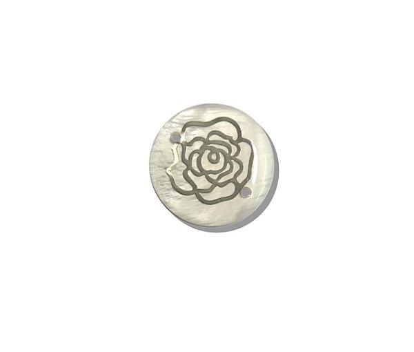 12-0267 - Pacote com 100 Madrepérolas com Chapa Flor Dourada 20mm c/ 2 Furos