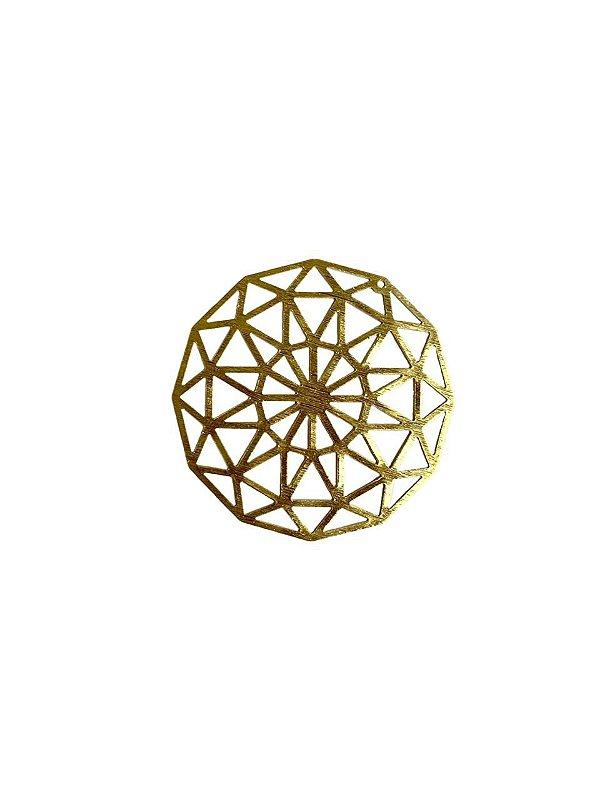 01-2437 1/2kg de Estamparia Mandala Lixada em Latão G 43mm