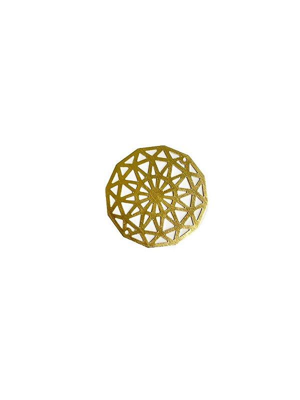 01-2435 1/2kg de Estamparia Mandala Lixada em Latão M 29mm