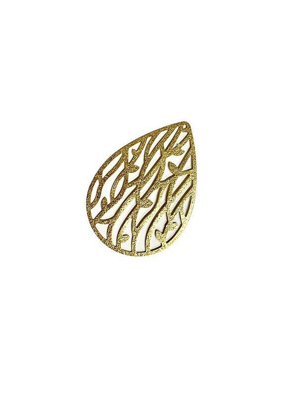 01-2462 1/2kg de Estamparia Gota Folhas Diamantada em Latão G 39mm x 27mm