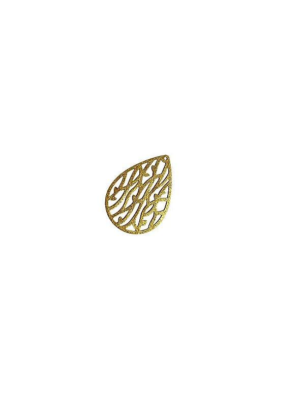 01-2463 1/2kg de Estamparia Gota Folhas Diamantada em Latão M 29mm x 20mm