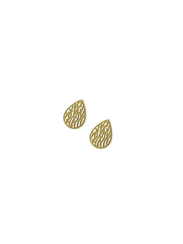 01-2464 1/2kg de Estamparia Gota Folhas Diamantada em Latão P 22mm x 15mm