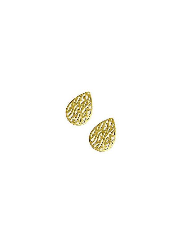 01-2459 1/2kg de Estamparia Gota Folhas Lixada em Latão P 22mm x 15mm