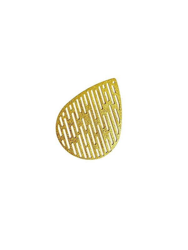 01-2475 1/2kg de Estamparia Gota Vazada Diamantada em Latão G 40mm x 30mm