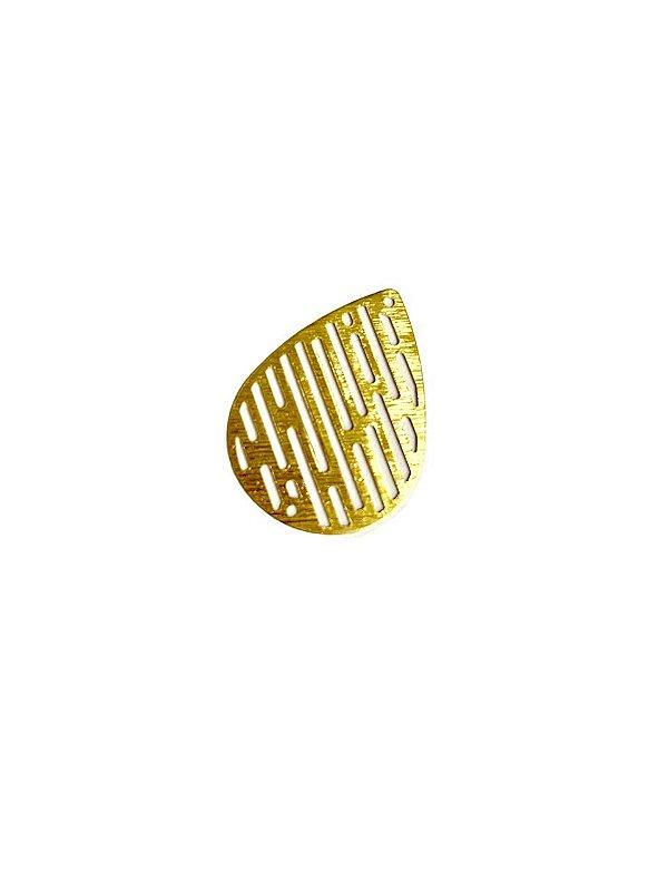 01-2500 1/2kg de Estamparia Gota Vazada Lixada em Latão M 27mm x 19mm