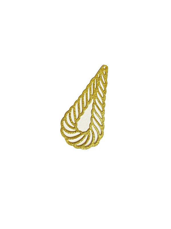 01-2517 1/2kg de Estamparia Gota Vazada Diamantada em Latão  M 43mm x 21mm