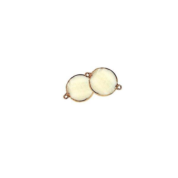12-0279 Pacote com 50 Entremeios de Madrepérola Redonda com Borda em Latão Dourada 28mm x 20mm