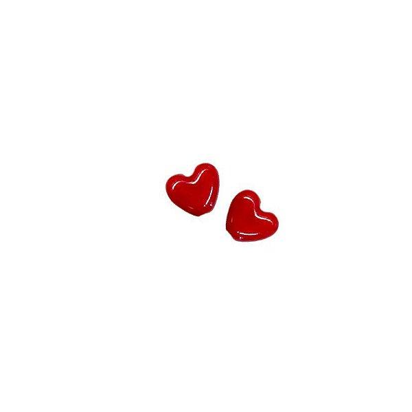 11-0129 Pacote com 100 Corações em Porcelana 13mm x 15mm com Furo Passante