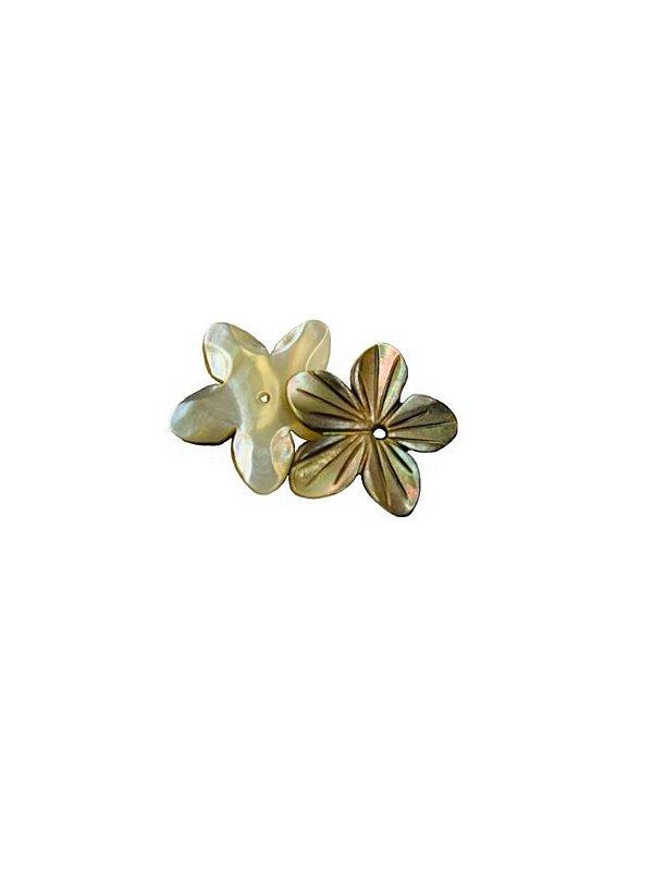 12-0283 Pacote com 50 Madrepérolas Flor Escura com Furo Central 20mm