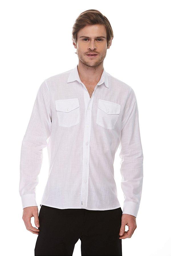 Camisa Social Ml Pure White