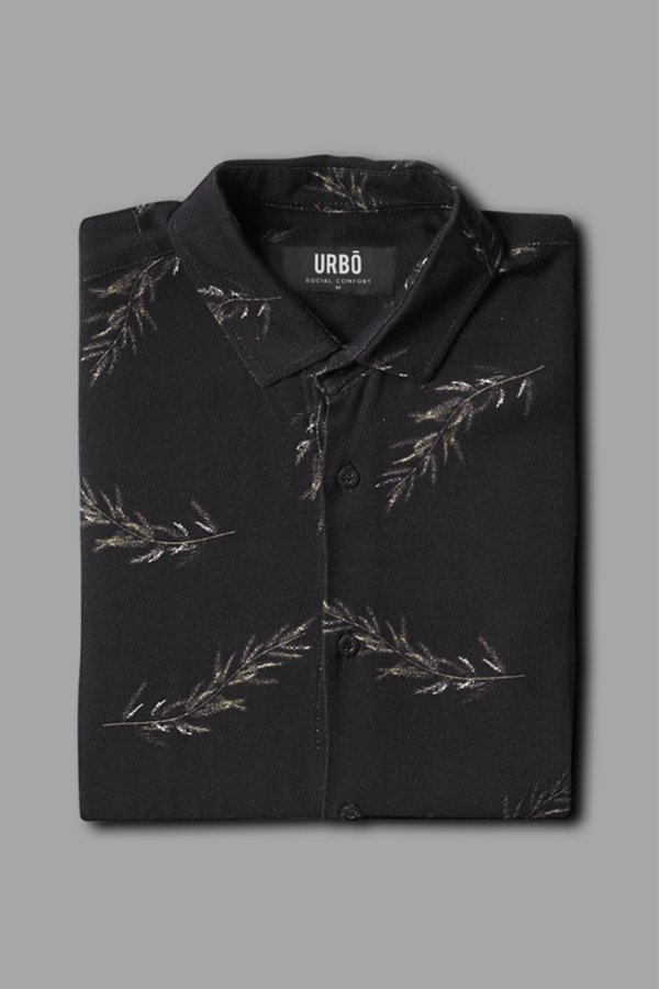 Camisa MC Simple Leaves Black
