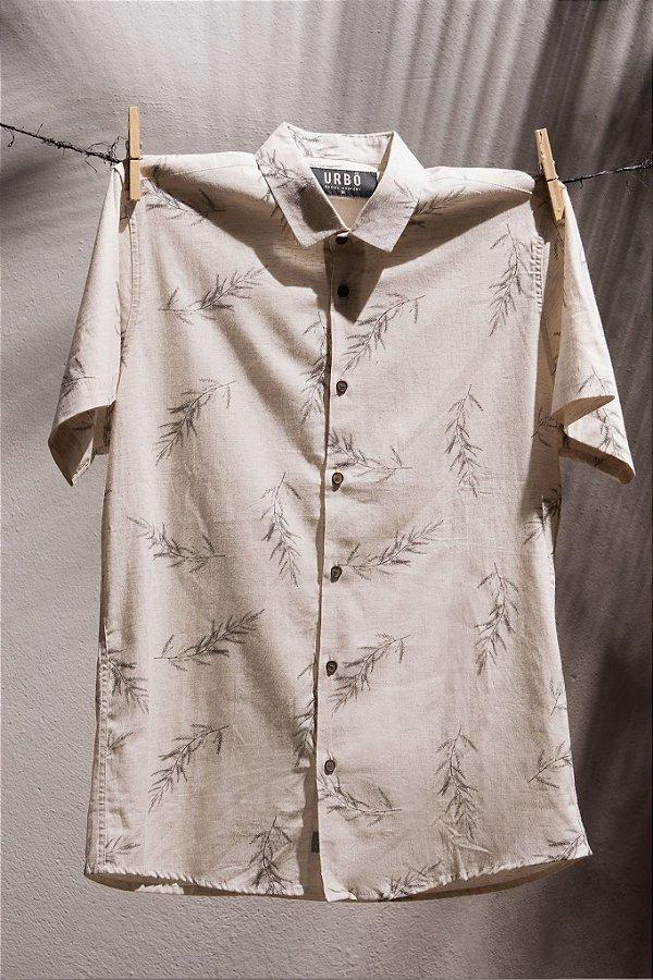 Camisa MC Simple Leaves Brown