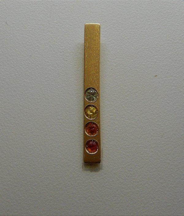 Pingente de Ouro com Safiras Coloridas