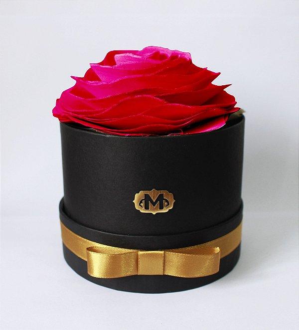 Flor na caixa redonda - VERMELHA