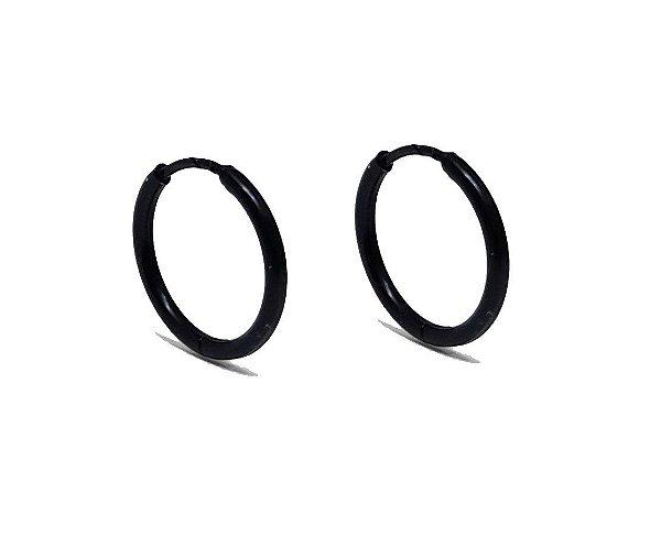 Brinco Masculino Black 13mm de Diâmetro - Aço Inoxidável - PAR