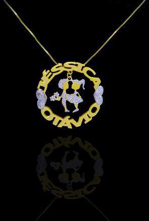 Colar com nome modelo mandala até 2 nomes coleção apaixonados folheado a ouro 18k