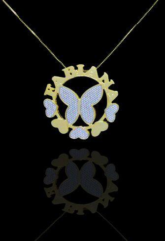 Colar com nome mandala 1 nome coleção borboleta folheado a ouro