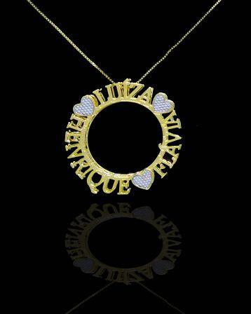 Colar com nome modelo mandala até 3 nomes com adorno folheado a Ouro 18k