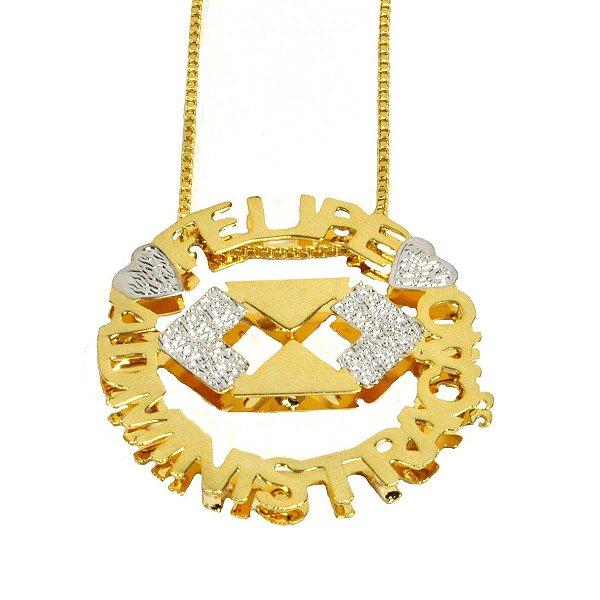 Colar com nome modelo mandala até 2 nomes coleção profissões folheada a Ouro