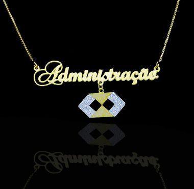 Colar com nome coleção profissões folheado a ouro 18k e símbolo da profissão