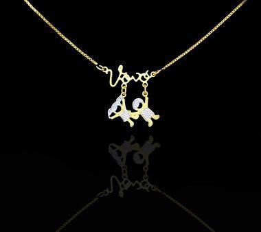 Colar com nome coleção amores da vovó e pingente folheado a ouro