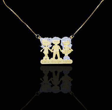 Colar com nome coleção filho amados até 3 filhos folheado a ouro 18k