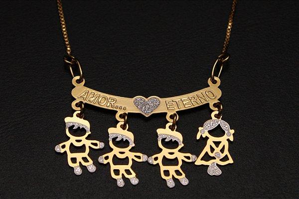 Colar com nome coleção filhos amados folheado a ouro 18k