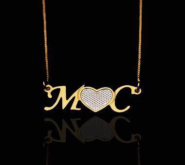 Colar com nome letras iniciais folheado a ouro 18k e ródio prata