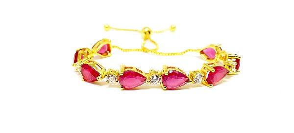 Pulseira Feminina Folheada a ouro 18k regulável com zirconias rubi