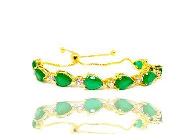 Pulseira Feminina Folheada a Ouro 18k regulável e zirconias verdes