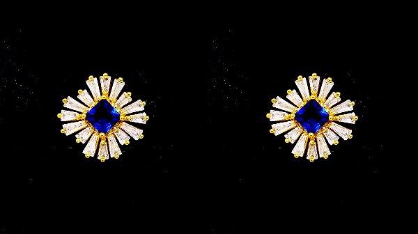 Brinco com pedra estrela folheado a ouro com zirconia safira