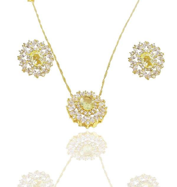 Conjunto colar e brincos folheados a ouro 18k com zirconia citrino e navetes cristais
