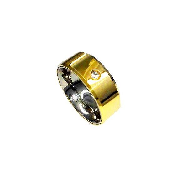 Aliança de moeda 6 mm reta com zircônia cravejada e lateral diamantada