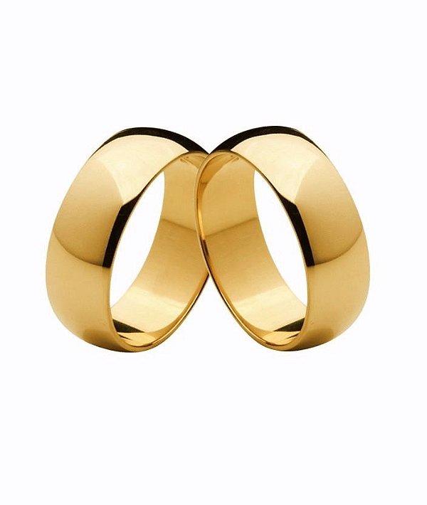 Aliança de Ouro 18k Modelo Paris com 7mm