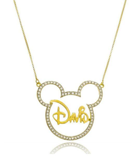 Colar com nome feminino Mickey Personalizado Folheado a Ouro 18k