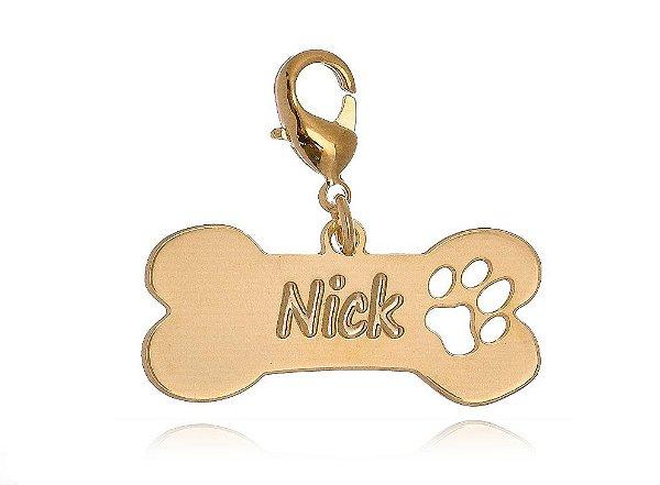 Placa de Identificação para Cães Folheado a Ouro 18k