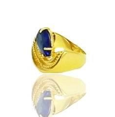Anel com Pedra Azul folheado a Ouro 18k com Aro Trabalhado