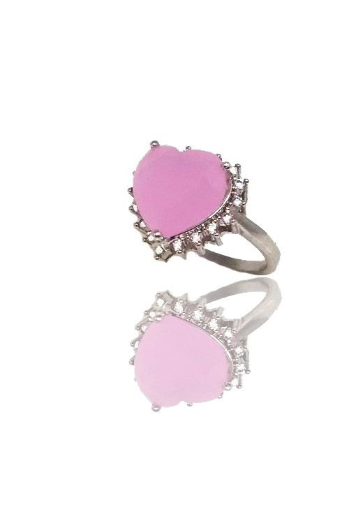 Anel com Pedra na cor Rosa Folheado a Ródio Branco