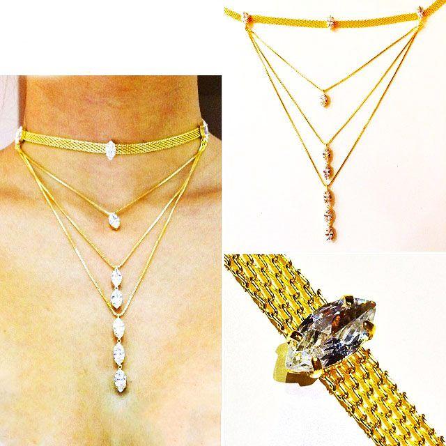 Chocker Fashion Giovana Antonelli folheado a ouro com zircônias