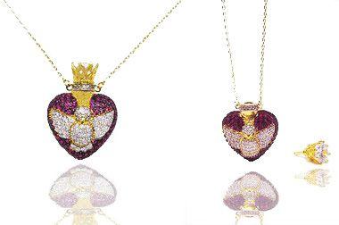 Colar feminino com pingente perfumeiro folheado a ouro cravejado zirconias