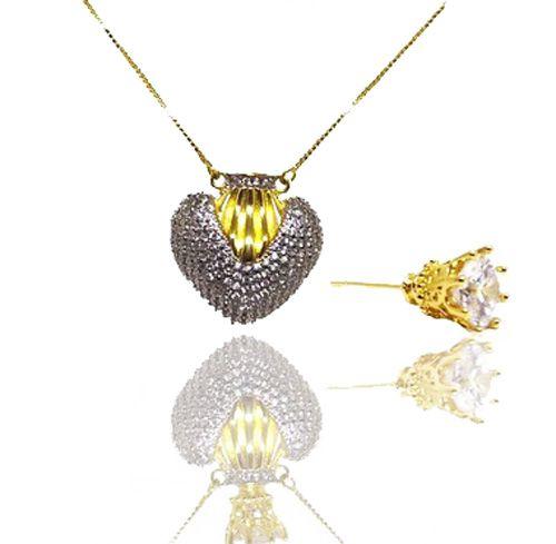 Colar feminino com Pingente de Coração Modelo Perfumeiro Folheado a Ouro 18k
