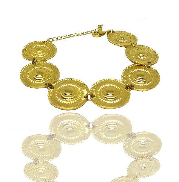 Pulseira Feminina Folheada a Ouro 18k Modelo Bracelete