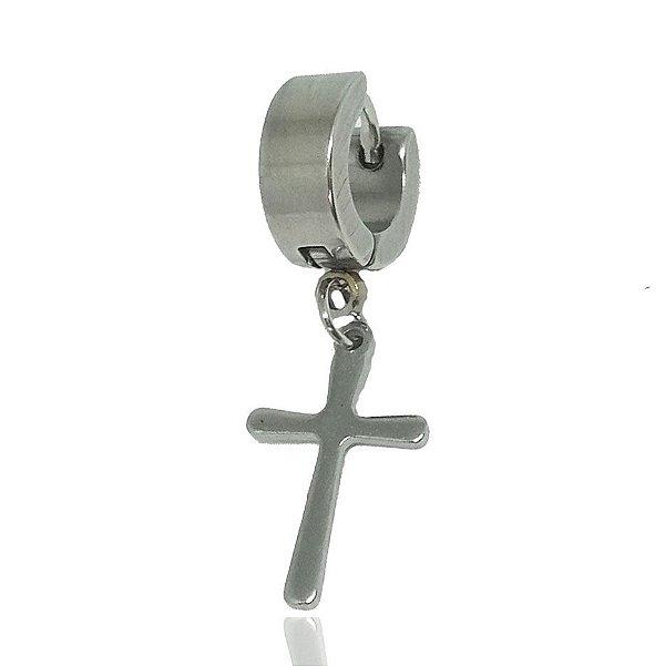 Brinco Masculino Argola 6mm Diâmetro Pingente Cruz - 1 PEÇA (NÃO É O PAR)