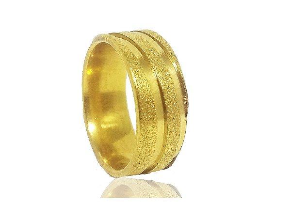 Aliança de Namoro em Aço Dourado 8mm - 1 UNIDADE