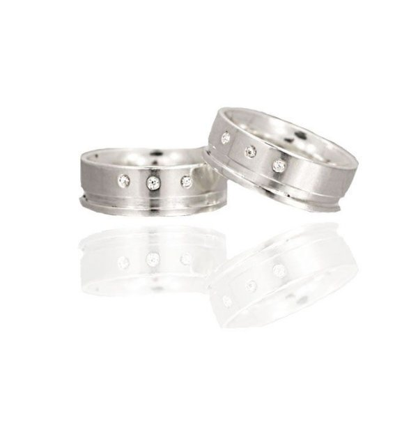 Aliança Namoro Prata 925 7mm com Zirconias Cravejadas - PAR
