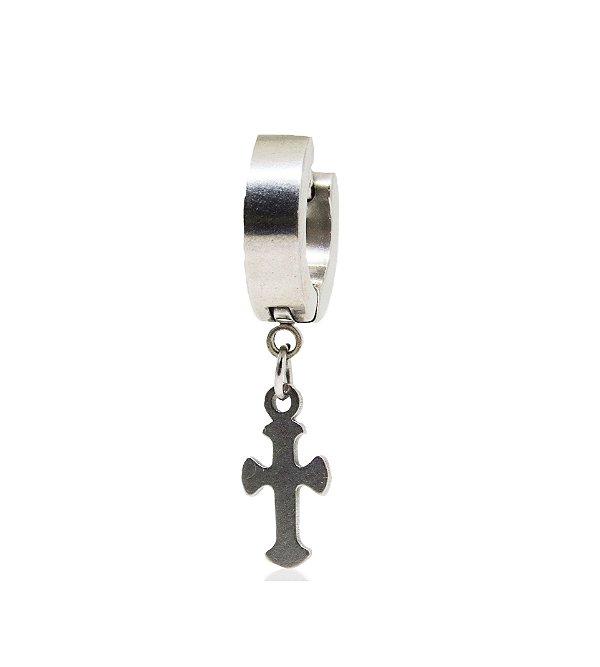 Brinco Masculino Argola 8mm Diâmetro Pingente Cruz - 1 PEÇA (NÃO É O PAR)