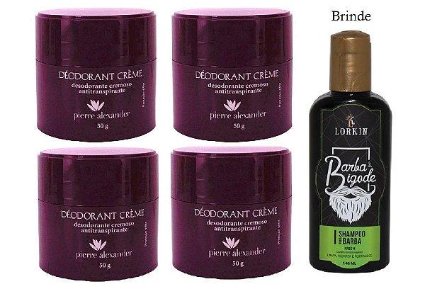 KIT 4 Und Desodorante Pierre Alexander Creme Antitranspirante + Shampoo Lorkin